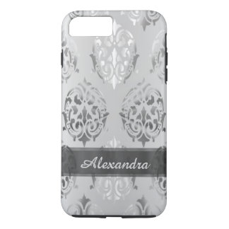Personalized chic elegant silver gray damask iPhone 8 plus/7 plus case