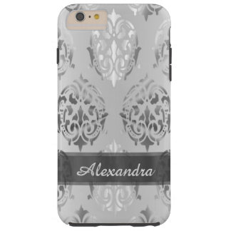 Personalized chic elegant silver gray damask tough iPhone 6 plus case