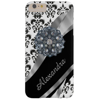 Personalized chic girly vintage damask barely there iPhone 6 plus case
