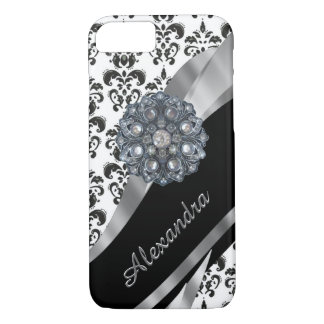 Personalized chic girly vintage damask iPhone 7 case