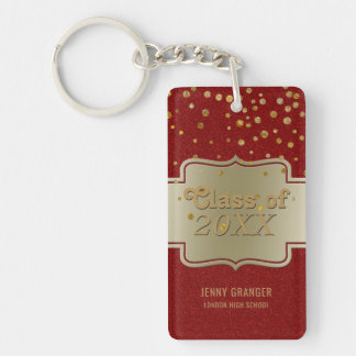 Personalized Chic Gold Red Glitter | Graduation Single-Sided Rectangular Acrylic Key Ring