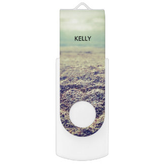 Personalized chic summer beach ocean seaside photo USB flash drive