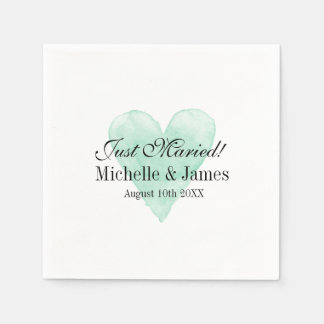 Personalized chic turquoise heart wedding napkins disposable napkins