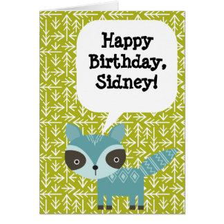 Personalized Children's Birthday Card Blue Raccoon