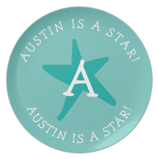 Personalized Child's Motivational Star Monogram Plate