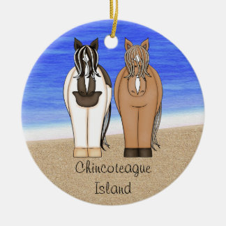 Personalized Chincoteague Island Ponies - Horse Christmas Ornament