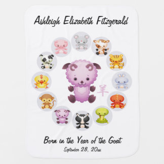 Personalized Chinese Zodiac Year of the Goat Round Baby Blanket