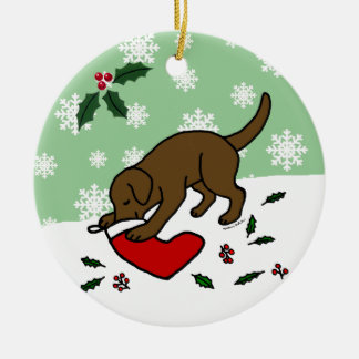 Personalized Chocolate Lab Christmas Cartoon Christmas Ornament