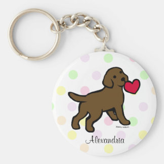 Personalized Chocolate Lab Puppy and Red Heart Basic Round Button Key Ring