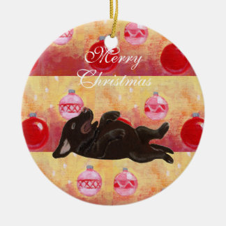 Personalized Chocolate Lab Puppy Christmas Christmas Ornament