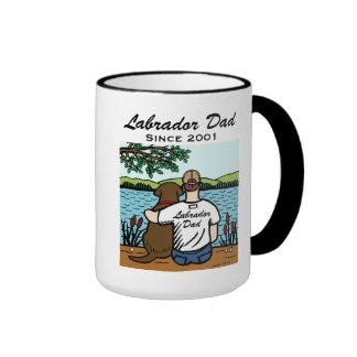 Personalized Chocolate Labrador and Dad 2 Ringer Coffee Mug