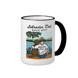 Personalized Chocolate Labrador and Dad 2 Ringer Mug