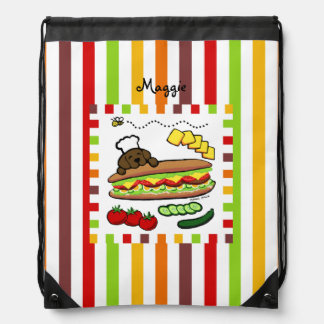 Personalized Chocolate Labrador Bakery Drawstring Bag