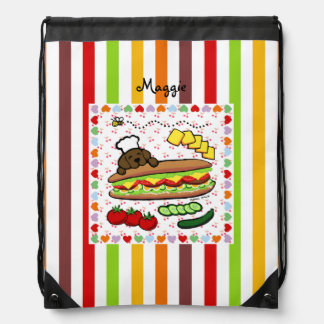 Personalized Chocolate Labrador Bakery Drawstring Bags