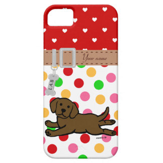 Personalized Chocolate Labrador Puppy Cartoon Case For The iPhone 5