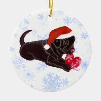 Personalized Chocolate Labrador Puppy Santa's Hat Christmas Ornament