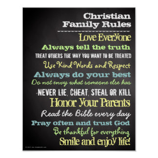 Personalized Christian Family Rules House Sign Poster