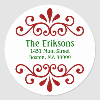 Personalized Christmas Address Labels Round Sticker