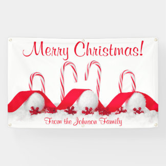 Personalized Christmas Banner Candy Canes Snowball