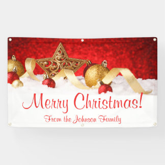 Personalized Christmas Banner Red Gold Star