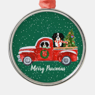 Personalized Christmas Berner Dogs Red Truck Christmas Ornament
