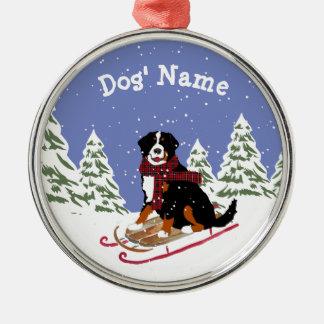 Personalized Christmas Bernese Mt Dog Sledding Christmas Ornament