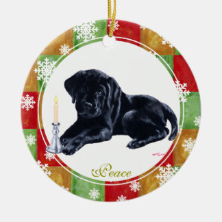 Personalized Christmas Black Labrador Puppy Round Ceramic Decoration
