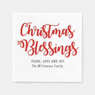 Personalized Christmas Blessings Red and White Paper Napkins