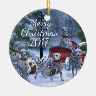 Personalized  Christmas Dalmatians Round Ceramic Decoration