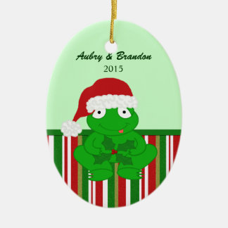 Personalized Christmas Frog Ornament