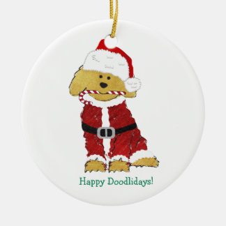 Personalized Christmas Goldendoodle Santa Claus Christmas Ornament