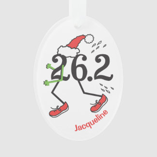 Personalized Christmas Holiday 26.2 Funny Marathon Ornament