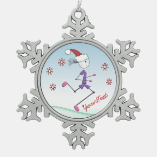 PERSONALIZED Christmas Holiday © Lady Runner Pewter Snowflake Decoration