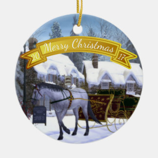 personalized christmas horse and sleigh christmas ornament - Horse Christmas Decorations Uk