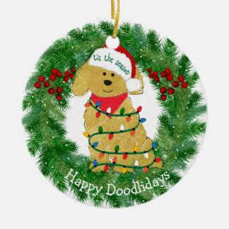 Personalized Christmas Lights Goldendoodle Christmas Ornament