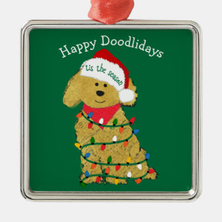 Personalized Christmas Lights Goldendoodle Green Christmas Ornament