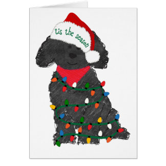 Personalized Christmas Lights Labradoodle Card