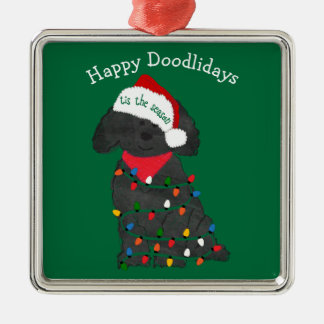 Personalized Christmas Lights Labradoodle Green Christmas Ornament