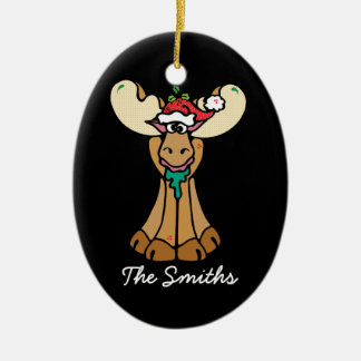 Personalized Christmas Moose Cartoon Christmas Ornament