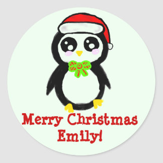 Personalized Christmas Penguin Classic Round Sticker