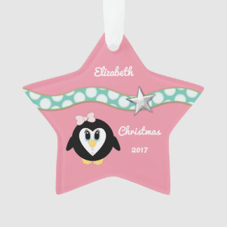 Personalized Christmas penguin pink Granddaughter Ornament