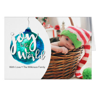 Personalized, Christmas, Photo, watercolor, script Card