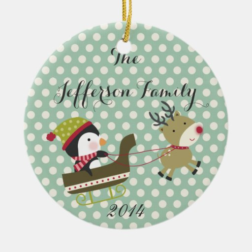 Personalized Christmas Rudolf Peng Family Ornament