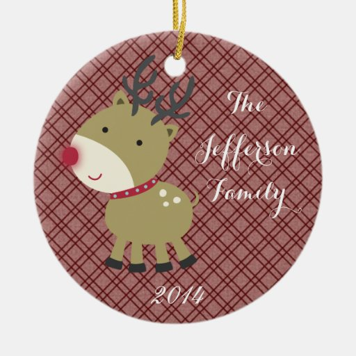 Personalized Christmas Rudolf Rein Family Ornament