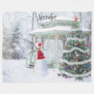 Personalized Christmas Snow Scene Fleece Blanket