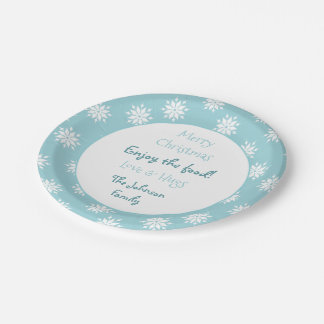 Personalized Christmas Snowflakes ice blue Paper Plate