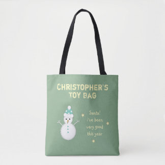 Personalized Christmas snowman toy Tote Bag