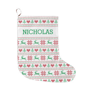 Personalized Christmas Sweater Stitched Pattern Large Christmas Stocking