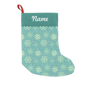 Personalized Christmas Teal Snowflake Pattern Small Christmas Stocking