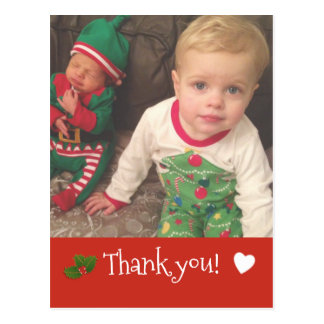 Personalized Christmas Thank you Photo Postcard